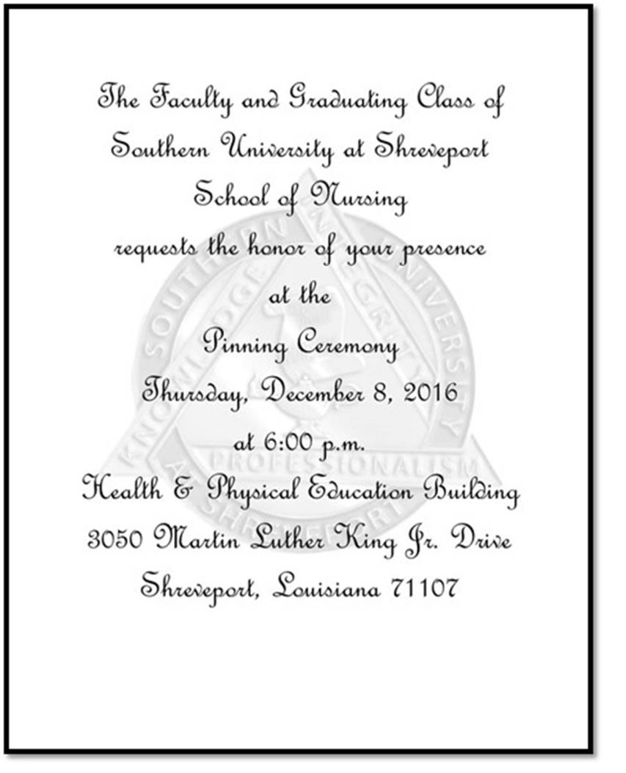 School Of Nursing Pinning Ceremony Southern University Shreveport